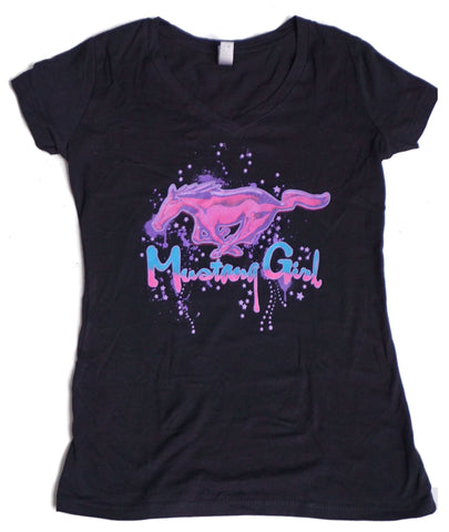 Mustang Girl v-neck shirt sold exclusively here