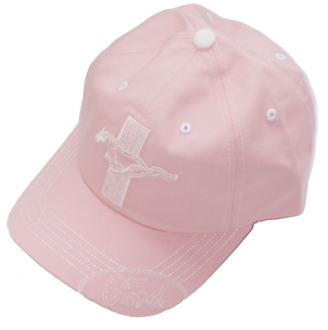 Ford Mustang pink hat with white lettering