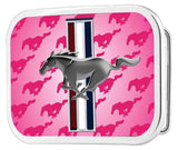 Ford Mustang belt buckle tri bar logo in pink