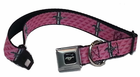 Ford mustang dog collar in pink in 3 sizes