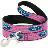 Ford dog leash in pink with blue oval
