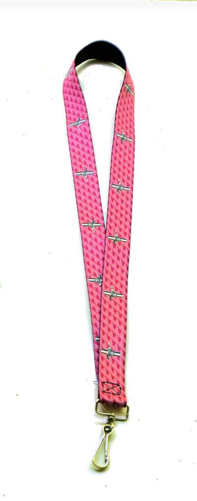 Ford mustang lanyard in pink with tri bar logo