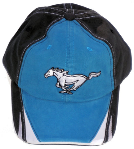 Ford mustang royal blue hat with striped brim and running horse logo