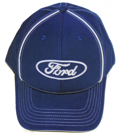 Ford royal blue hat with white piping