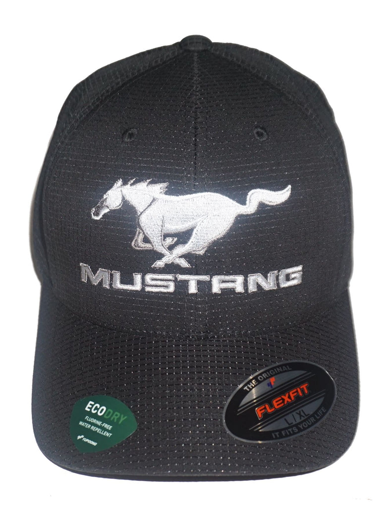 Ford mustang running horse flex fit hat in black