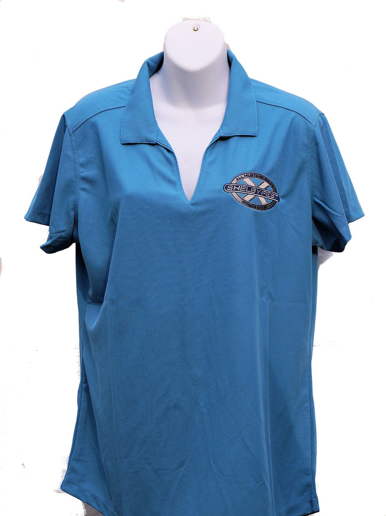 SHELBYFEST LADIES BLUE V NECK COLLARED SHIRT