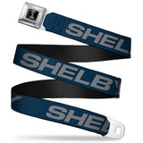 Shelby belt made of seat belt material with repeat logo