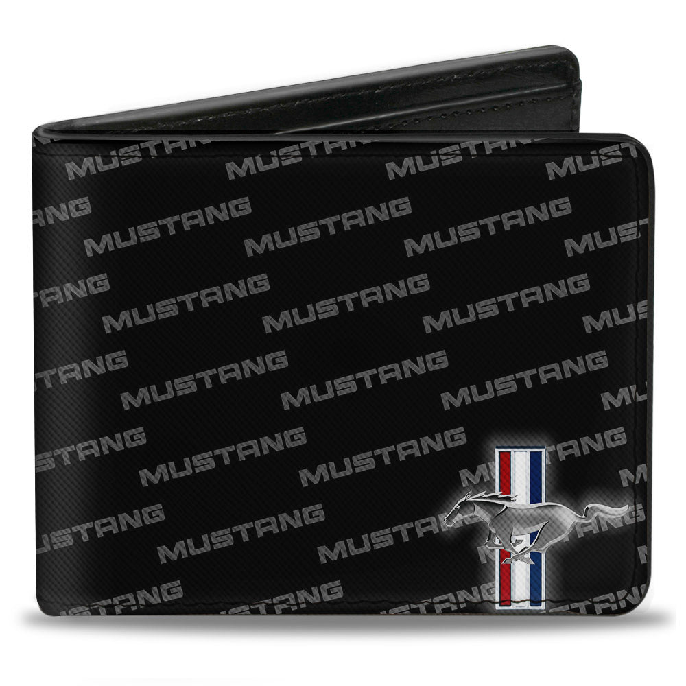 Ford mustang textured Saffiano leather wallet with tri bar repeat logo