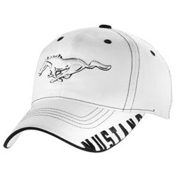 Ford Mustang white hat with white horse