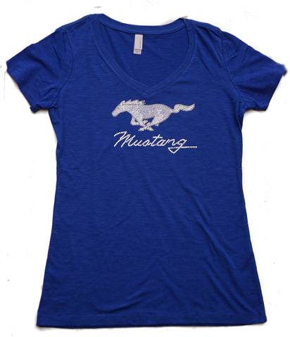 Ford Mustang ladies rhinestone shirt with running horse logo in blue
