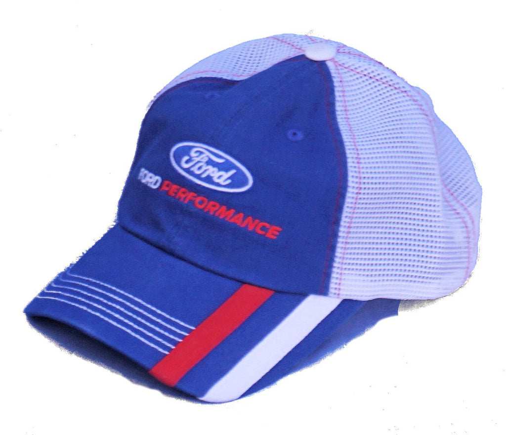 Ford Performance blue, red, and white mesh back hat