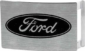Ford script belt buckle in silver with oval