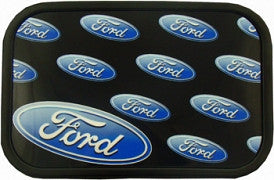 Ford oval repeat logo belt buckle in black and blue