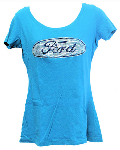 Ford ladies rhinestone shirt in turquoise