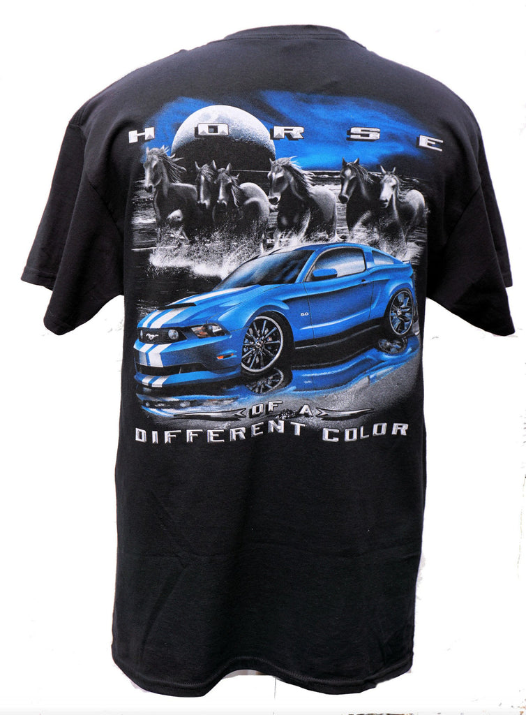 Ford Mustang Horse of a different color t shirt in black