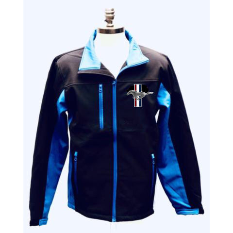 Mustang black with blue soft shell jacket