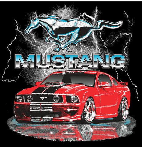 Ford Mustang kids shirt with ligtning and red car in navy blue