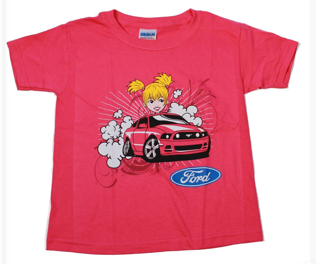 Ford Mustang kids shirt with girl driving in pink