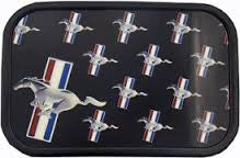 Ford Mustang belt buckle tri bar repeat logo