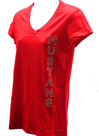 Ford Mustang ladies rhinestone shirt with vertical  Mustang wording red