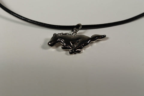 Ford Mustang leather necklace with silver running horse charm