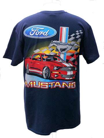Ford Mustang late model red mustang t shirt in navy blue