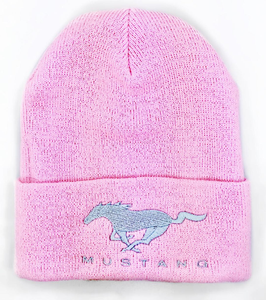 Pink mustang beanie