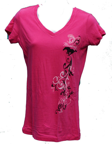 Ford Mustang Ladies raspberry swirl v neck t shirt