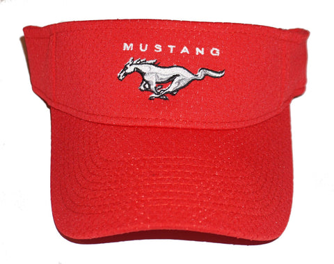 Ford Mustang visor in red with mesh overlay