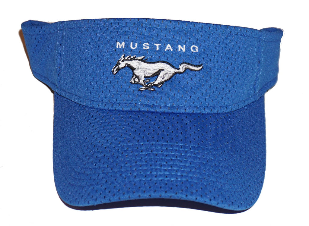 Ford Mustang visor in royal blue with mesh overlay