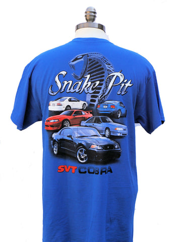 Ford mustang svt cobra snake pit multi car shirt in medium blue