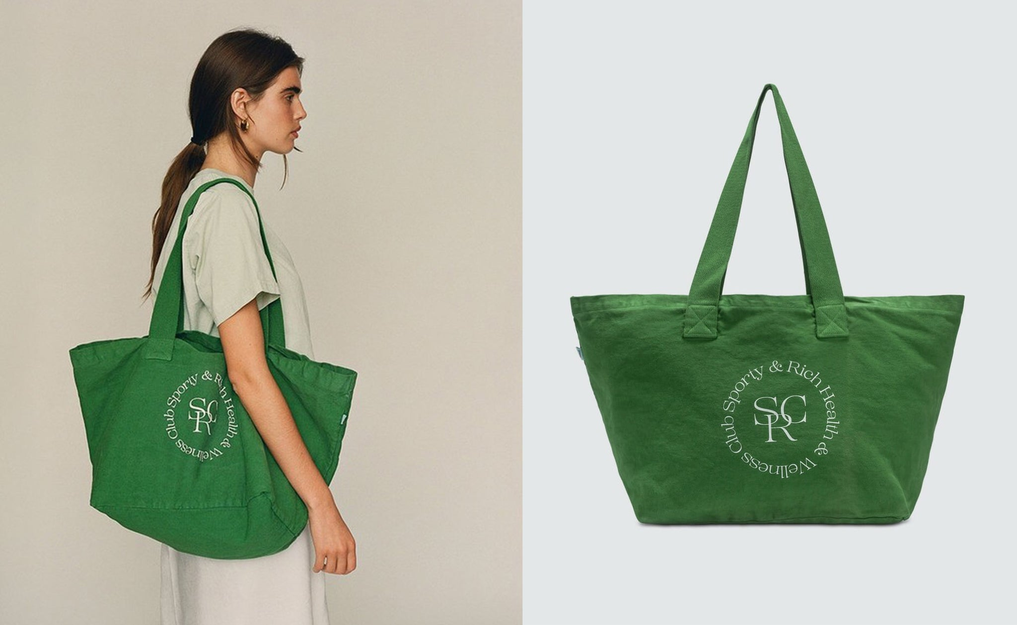 Model showcasing a sporty and rich beach bag, sustainable goods