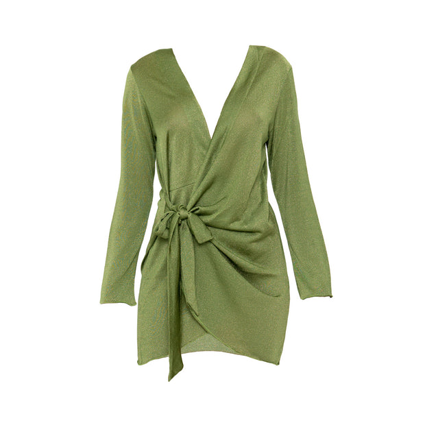 Madeira Wrap dress in Chartreuse