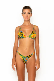 Sommer Swim model facing forwards and wearing Rocha cheeky bikini bottoms in Baroque