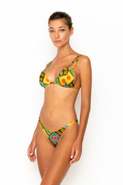 Sommer Swim model facing sideways to the right and wearing Rocha cheeky bikini bottoms in Baroque