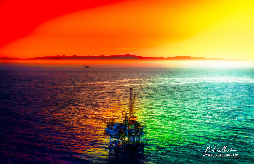 Offshore in the Emerald Sea Artist: Bob Callender - Bob Callender Fine Art oil and gas art
