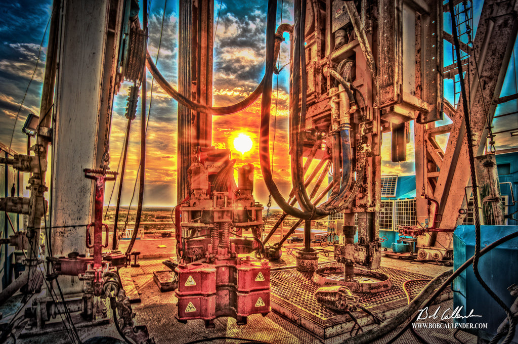 The Sun Setting On the Rig Floor Artist: Bob Callender - Bob Callender Fine Art oil and gas art