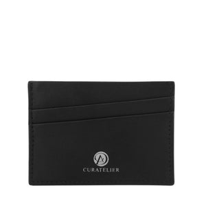 Front view of Curatelier self-manufactured collection of handmade genuine leather cardholder wallet with two slanted front slots.