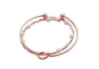 IOTC Yoona Love Knot Pearl Crystal Pack of 2 Bangles in Silver (Front View)
