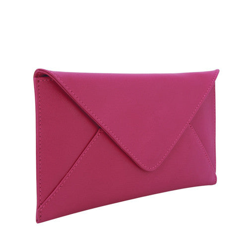 Velle Seraph Slim Envelope Genuine Cow Leather Wallet in Fuchsia (Front View)