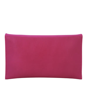 Velle Seraph Slim Envelope Genuine Cow Leather Wallet in Fuchsia (Back View)