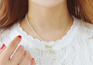 IOTC Tiara Pendant Pearl Chain Necklace (Model View)