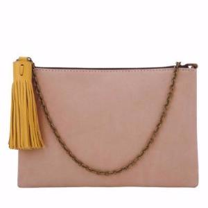 Velle Arissa Mini Crossbody Tassel Chain Bag in Tan Nubuck Leather (Front View)