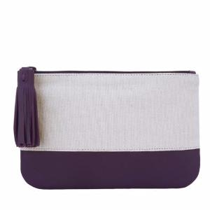 Velle Megan Canvas Leather Colour Block Multi-Purpose Tassel Pouch in Purple (Front View)