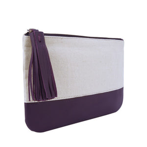 Velle Megan Canvas Leather Colour Block Multi-Purpose Tassel Pouch in Purple (Side View)