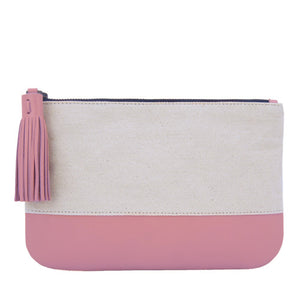 Velle Megan Canvas Leather Colour Block Multi-Purpose Tassel Pouch in Pink (Front View)