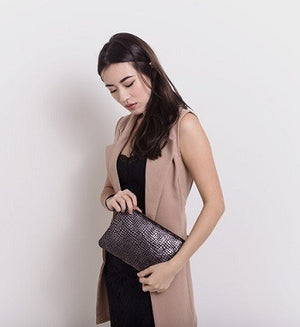 Aehee New York on Curatelier Duo-Tone Wristlet in Alligator Embossed Leather/Black Leather (Model View II)