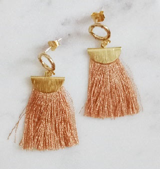 Curatelier Humility Round Crystal Half Moon Beige Silk Thread Tassel Earrings