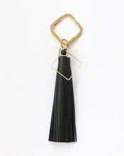 Load image into Gallery viewer, Curatelier Black Beauty Black Leather Tassel Gold Square Keyring