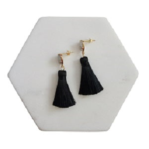 Curatelier Hope Labrodite Gemstone Black Silk Thread Petite Tassel Earrings